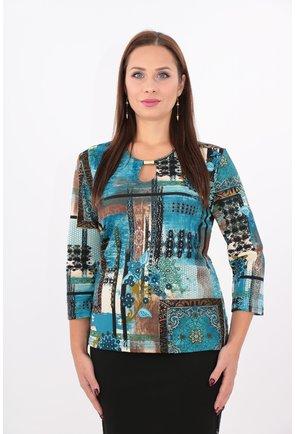 Bluza turcoaz cu imprimeu floral