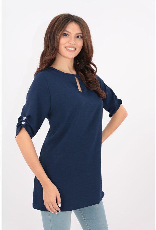 Bluza uni bleumarin din bumbac