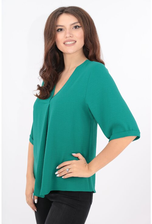 Bluza uni verde din vascoza