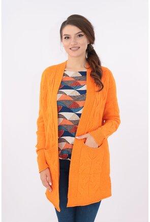 Cardigan orange lung cu buzunare