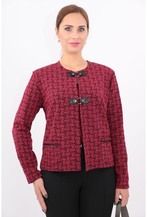 Cardigan rosu din brocard elastic cu catarame