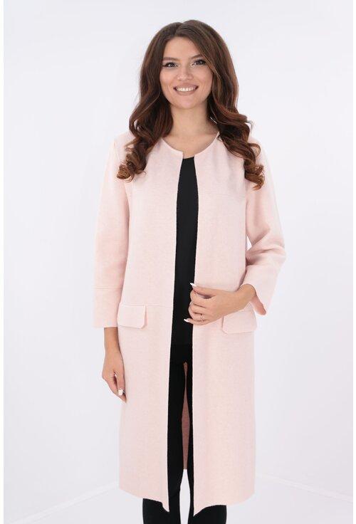 Cardigan roz lung cu clape