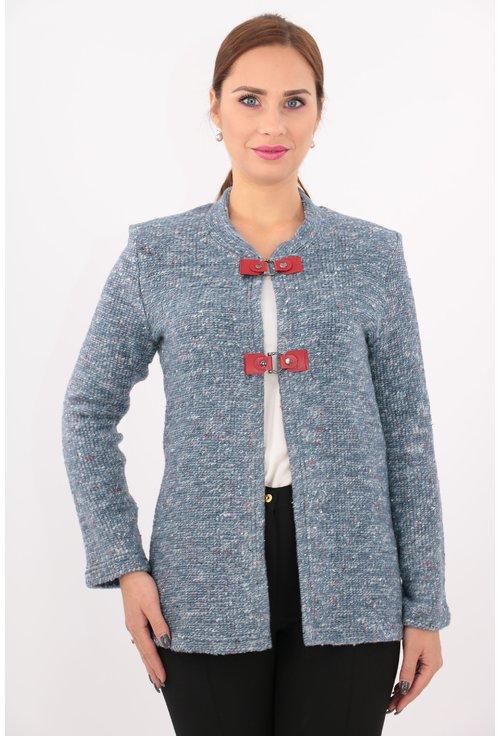 Cardigan tricotat cu catarame rosii