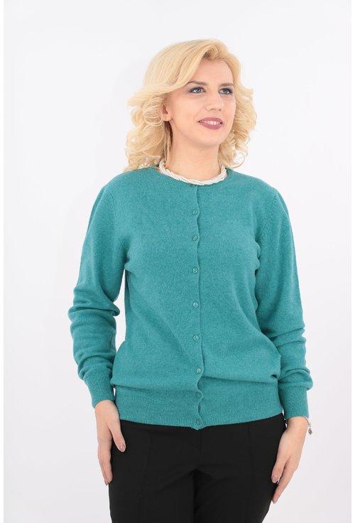 Cardigan turcoaz tricotat din lana