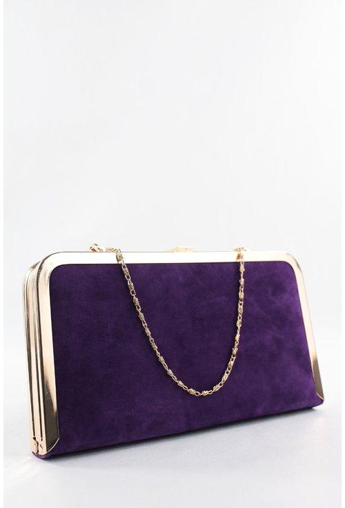 Clutch violet din catifea