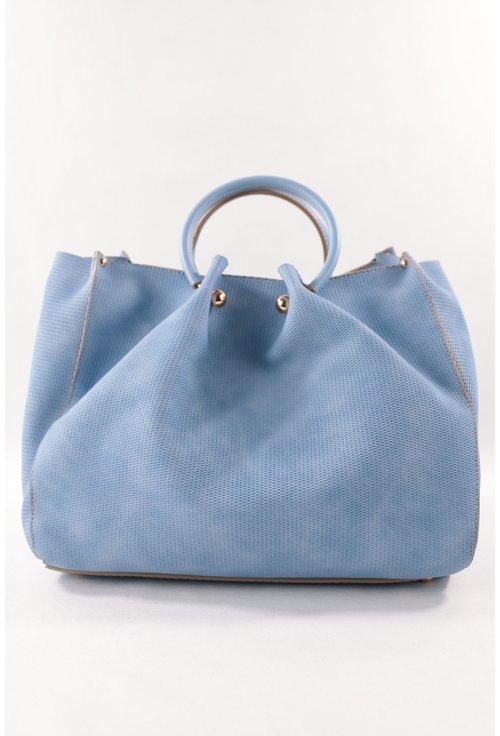 Geanta bleu cu manere rotunde