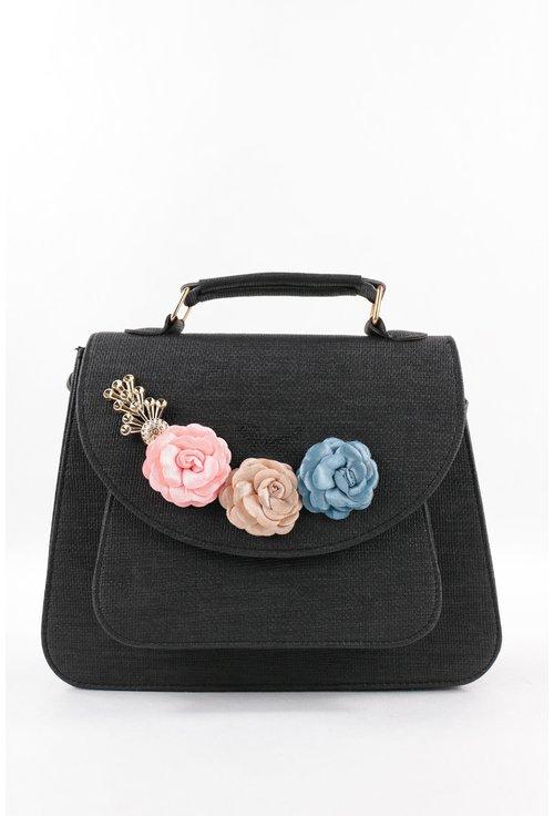 Geanta neagra cu trandafiri