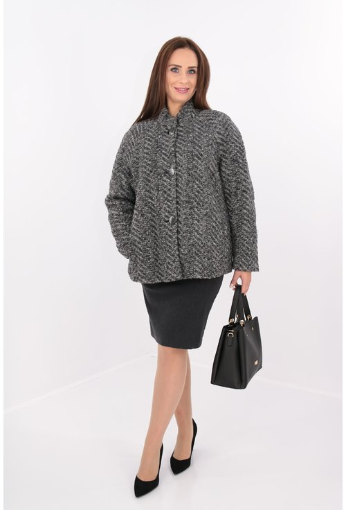 Jacheta din lana coapta gri cu captuseala matlasata