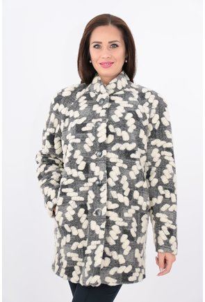 Jacheta din lana coapta gri cu crem