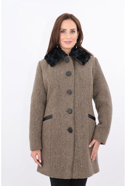 Jacheta din stofa maro cu guler din blanita neagra