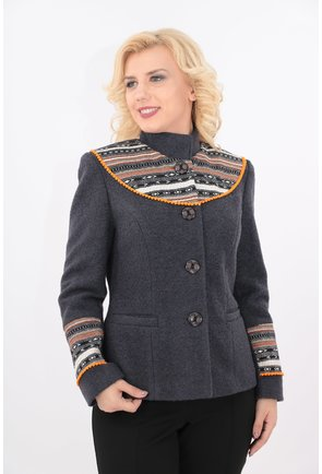 Jacheta gri din stofa bucle cu motive traditionale