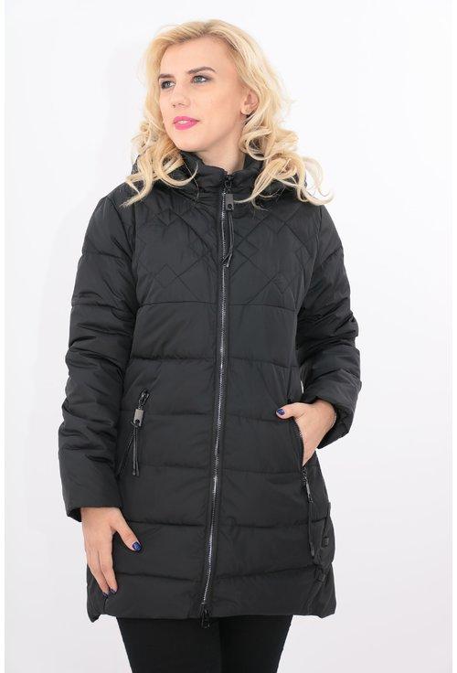 Jacheta matlasata neagra cu fermoar negru