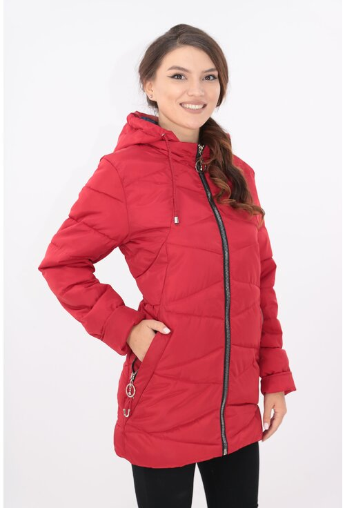 Jacheta rosie groasa din fas cu gluga
