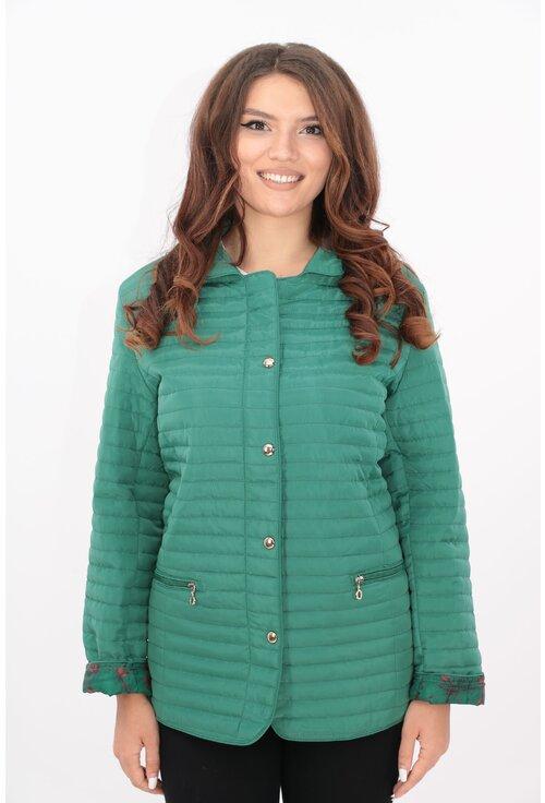 Jacheta verde de fas matlasata cu guler tunica