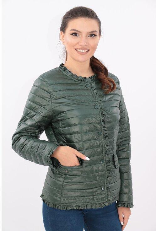 Jacheta verde din fas matlasat cu volanase