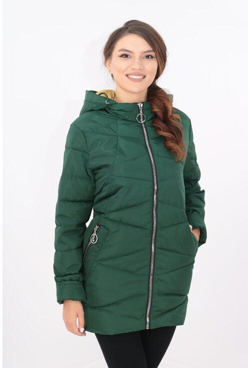 Jacheta verde groasa din fas cu gluga