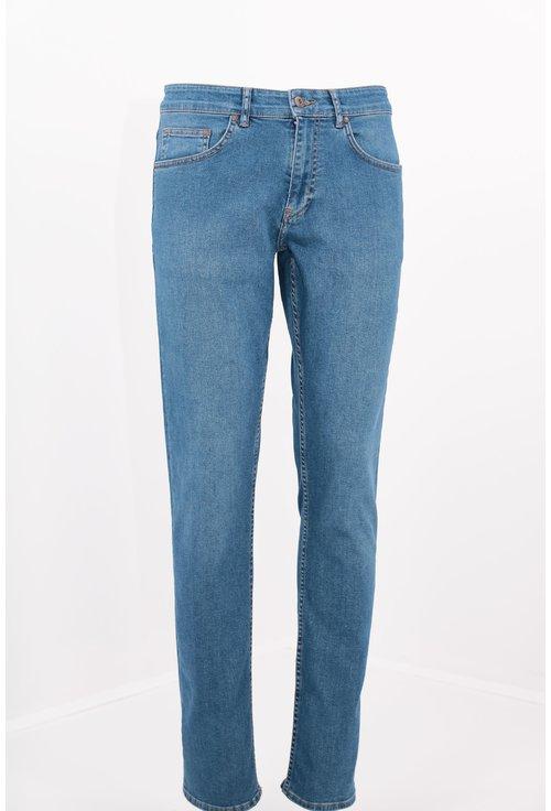 Jeans albastri slim fit cu interior grena