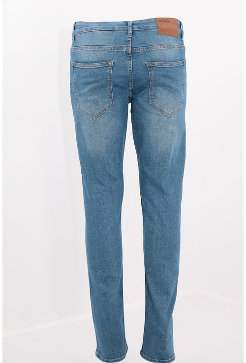 Jeans albastri slim fit decolorati