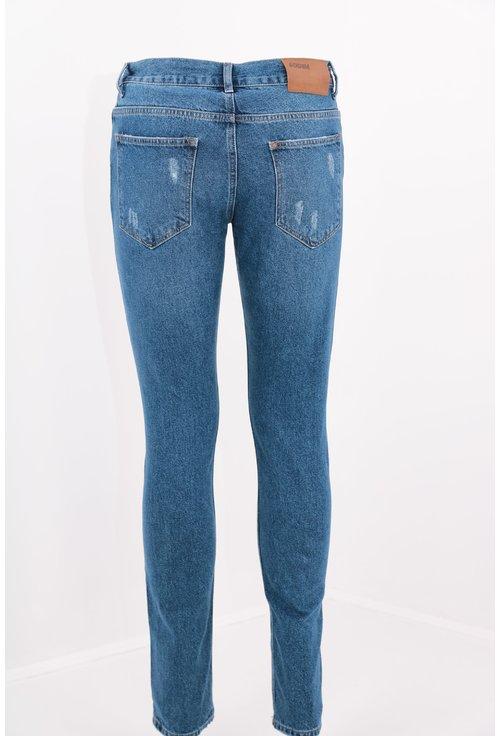 Jeans albastri slim fit deteriorati