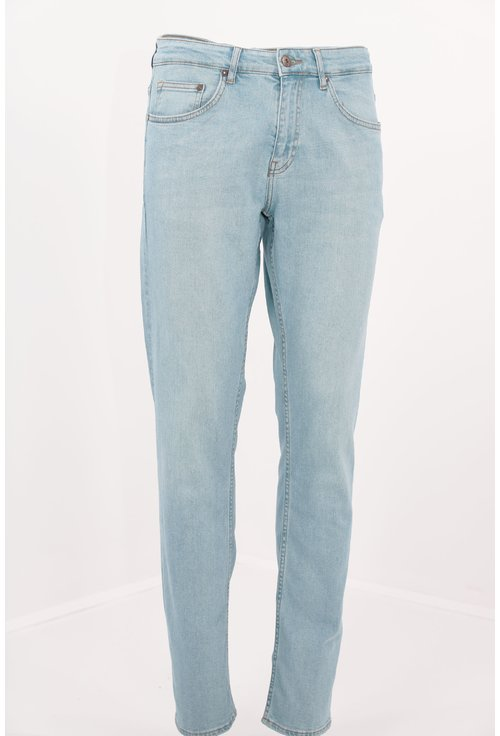 Jeans bleu slim fit decolorati