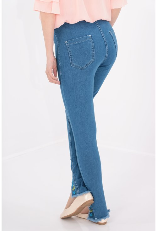 Jeans cu broderie skinny fit