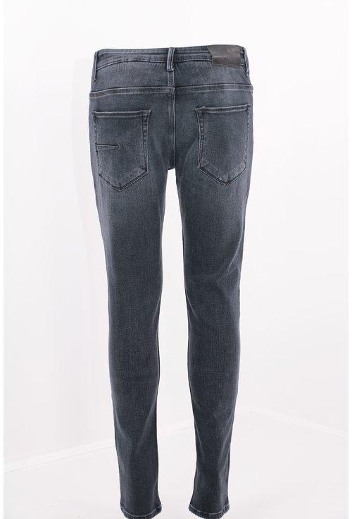 Jeans gri inchis decolorati