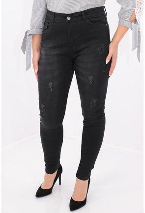 Jeans negri rupti skinny fit cu talie inalta