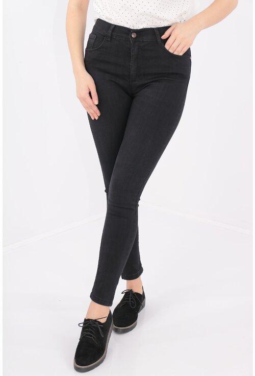 Jeans negri skinny fit cu talie inalta