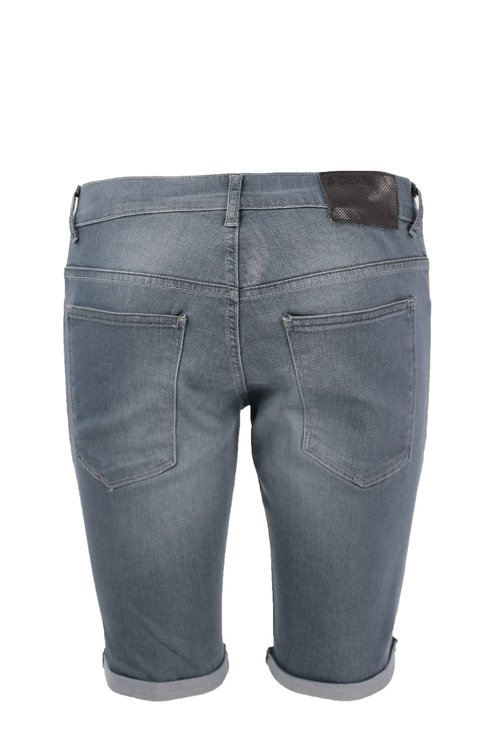 Jeans scurti gri cu manseta