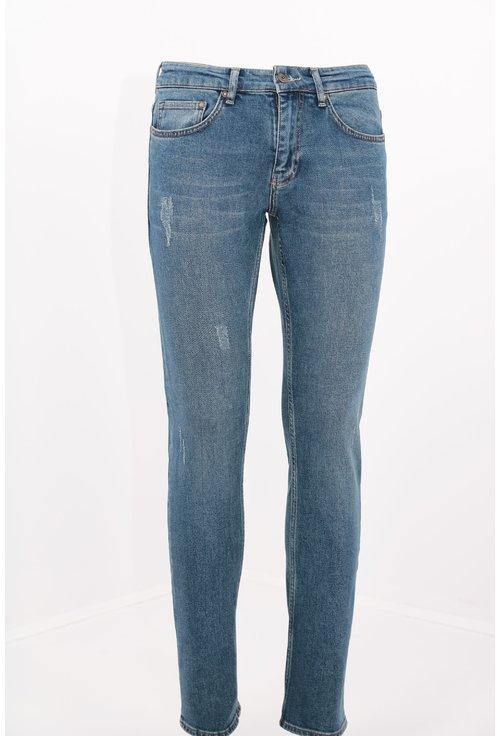 Jeans slim fit albastri decolorati si deteriorati