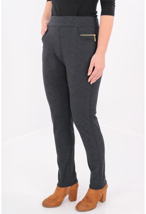 Pantaloni bleumarin cu fermoare aurii