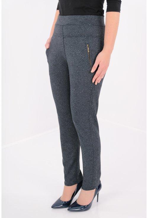Pantaloni bleumarin cu imprimeu negru