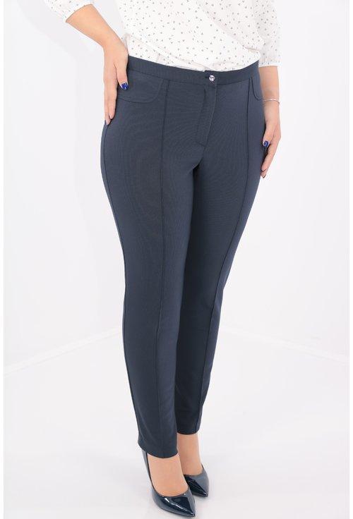 Pantaloni conici bleumarin cu buline albe mici