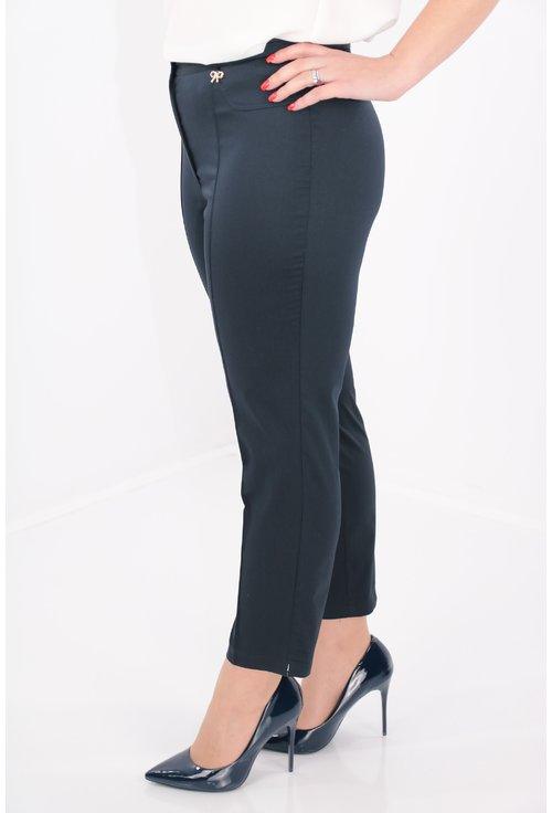 Pantaloni conici bleumarin din bumbac satinat