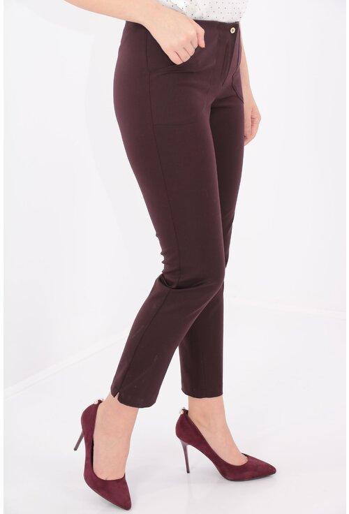 Pantaloni conici bordo cu buzunare