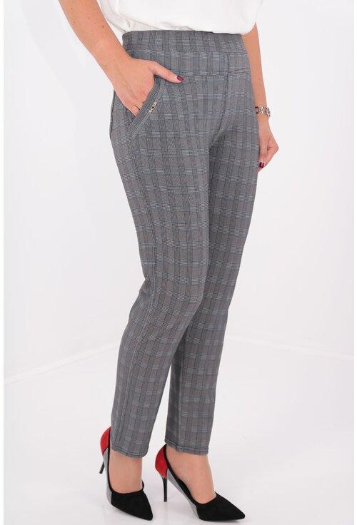 Pantaloni conici gri cu carouri fine negre si albastre