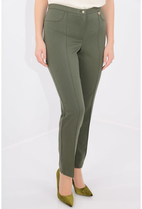Pantaloni conici olive din stofa elastica