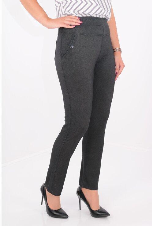 Pantaloni gri inchis cu buzunare