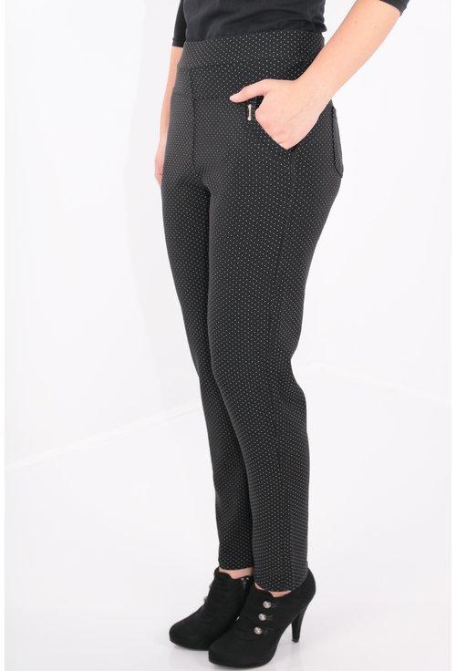 Pantaloni negri cu buline mici gri
