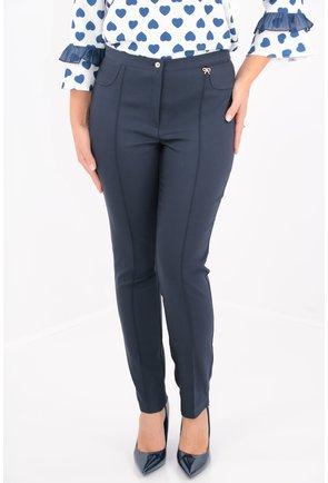 Pantaloni office bleumarin din stofa elastica