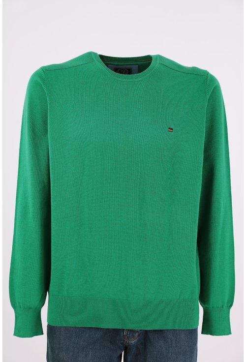 Pulover verde cu decolteu rotund