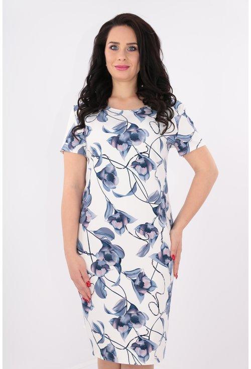 Rochie alba cu print floral albastru
