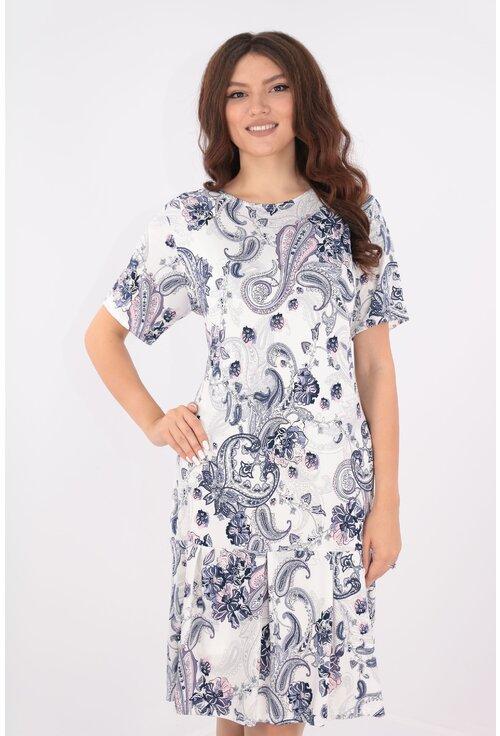 Rochie alba cu print floral gri-mov