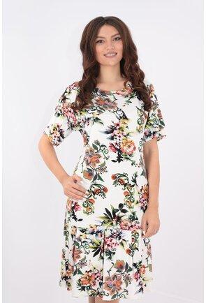 Rochie alba cu print floral maxi caramiziu