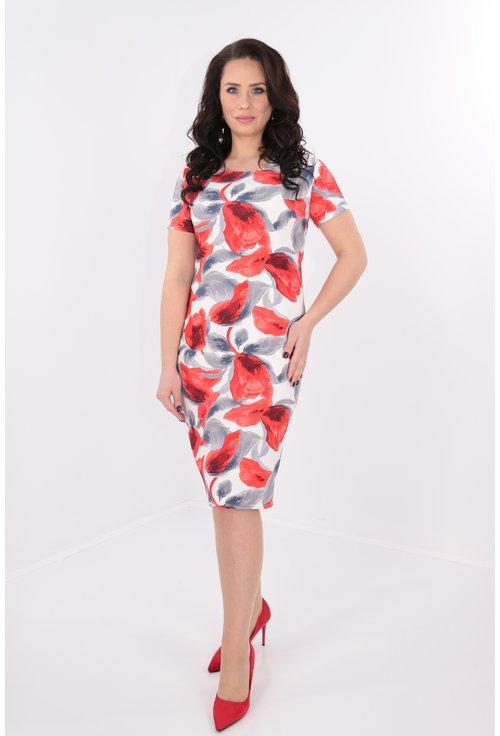 Rochie alba cu print rosu si gri