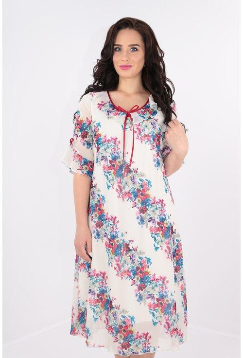Rochie alba din voal cu print floral multicolor