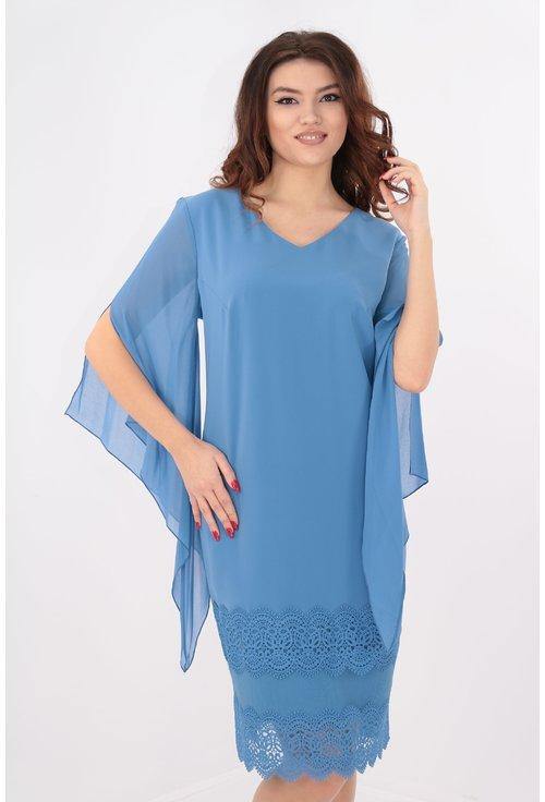 Rochie albastra cu broderie