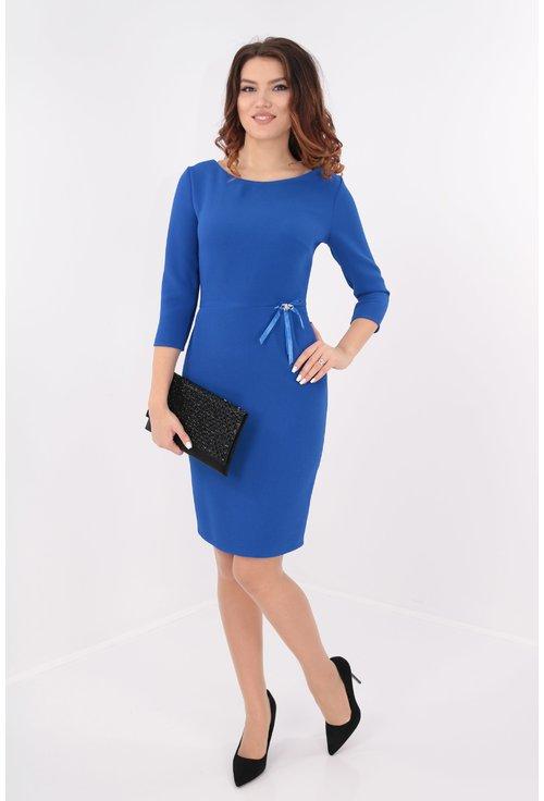 Rochie albastra cu fundita in talie