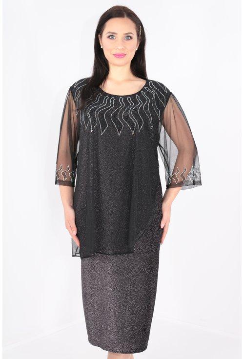 Rochie argintie cu voal negru si strasuri