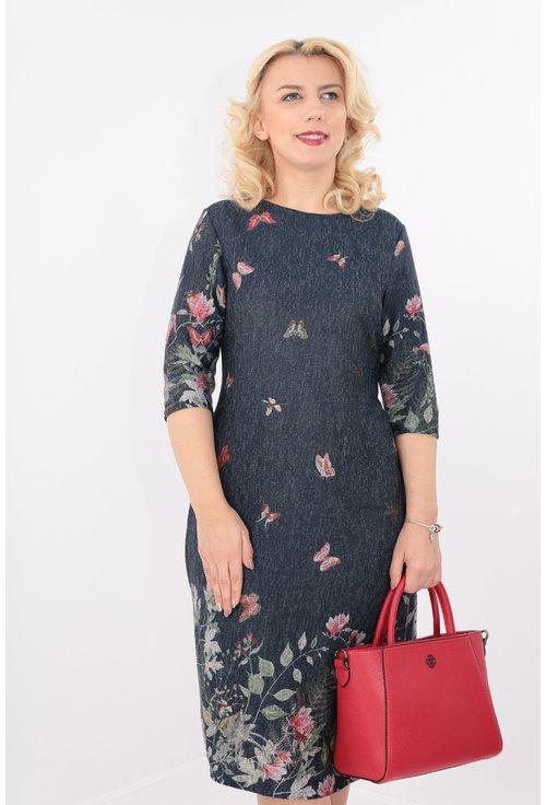 Rochie bleumarin cu bordura florala si fluturi
